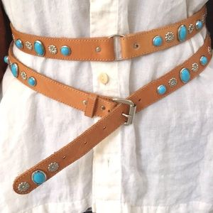 Accessories - Boho chic vintage style leather embellished belt